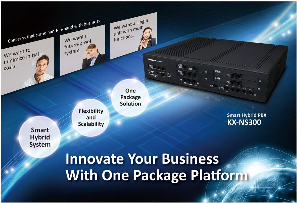 Flexibility and Scalability One Package Solu on Smart Hybrid PBX KX-NS300