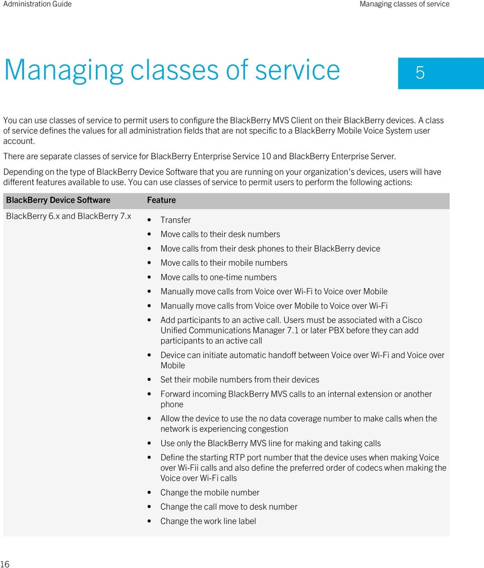 There are separate classes of service for BlackBerry Enterprise Service 10 and BlackBerry Enterprise Server.