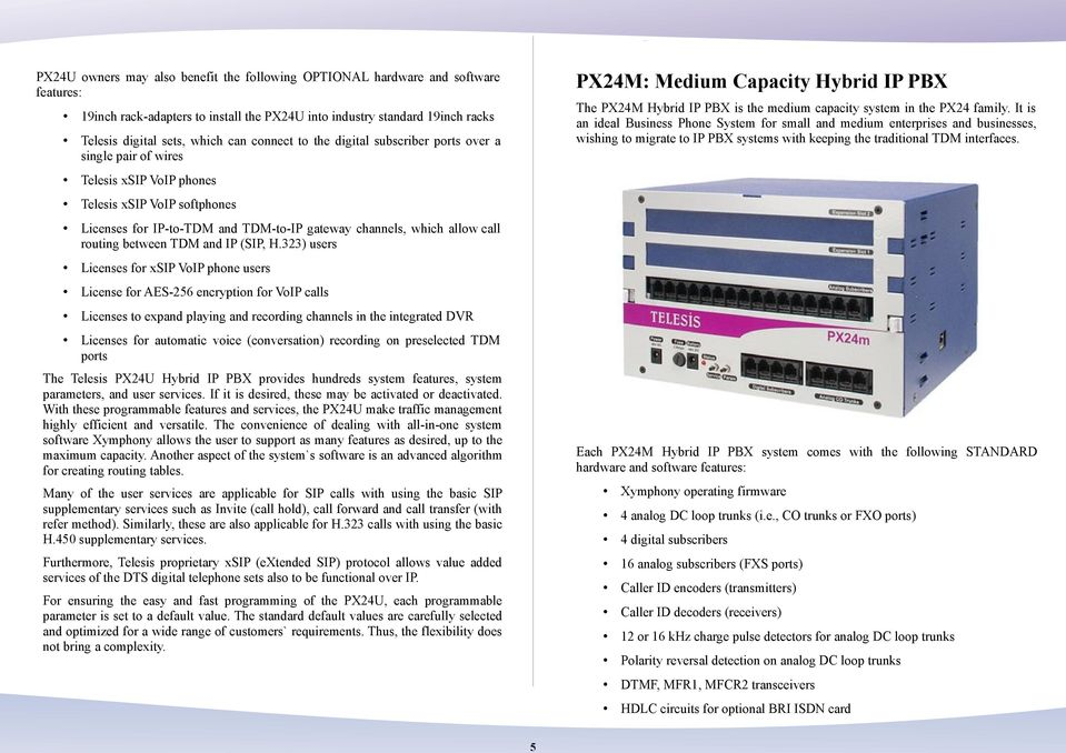 19inch rack-adapters to install the PX24U into industry standard 19inch racks Telesis digital sets, which can connect to the digital subscriber ports over a single pair of wires Telesis xsip VoIP