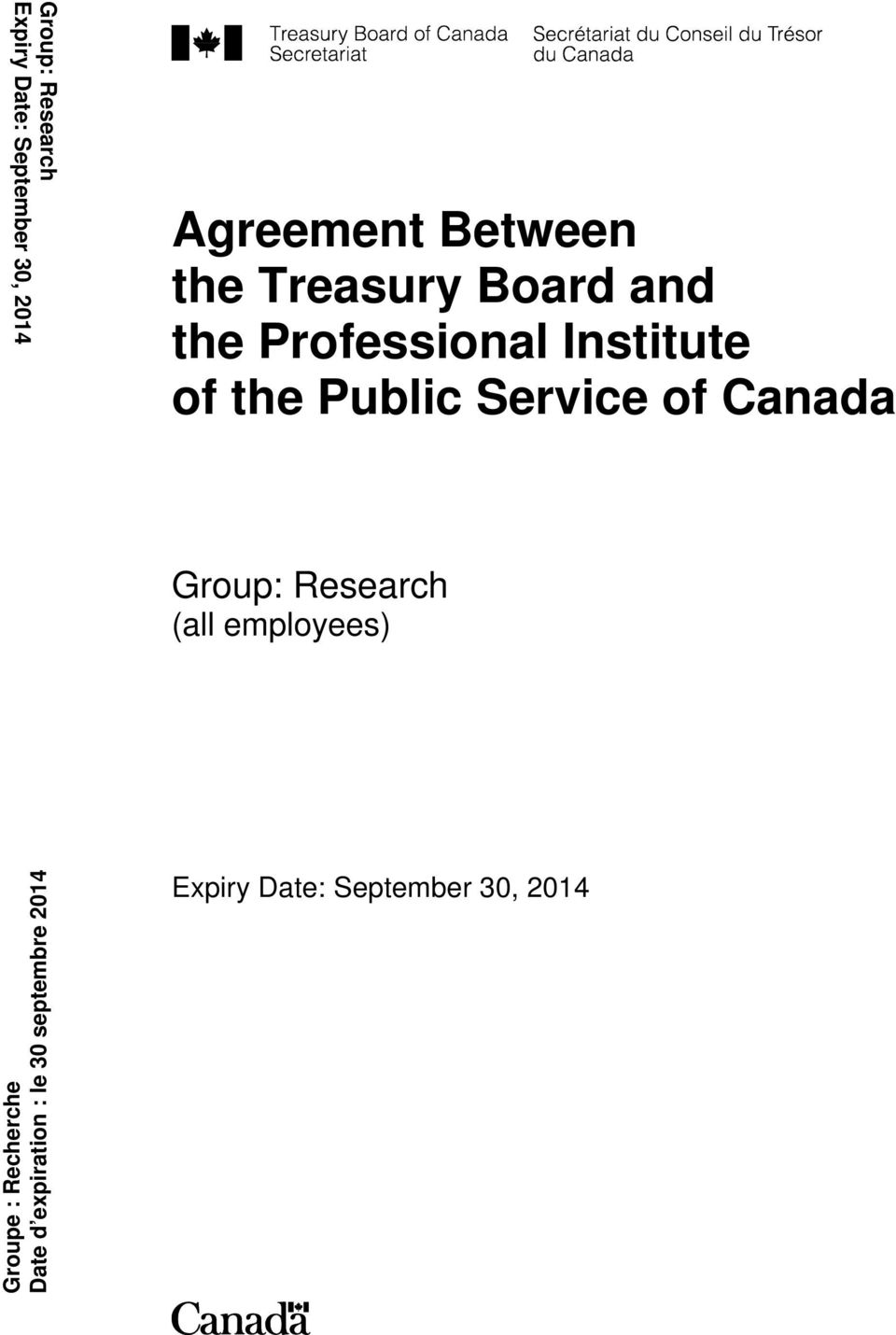 Service of Canada Group: Research (all employees) Groupe :