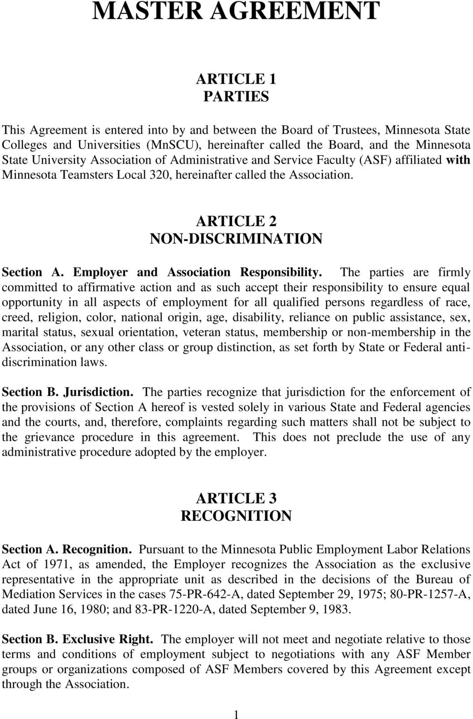 ARTICLE 2 NON-DISCRIMINATION Section A. Employer and Association Responsibility.