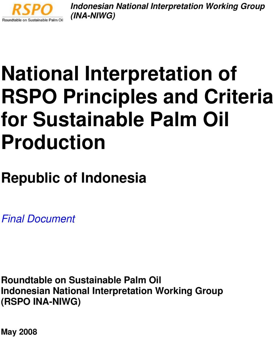 Oil Production Republic of Indonesia Final Document Roundtable on Sustainable