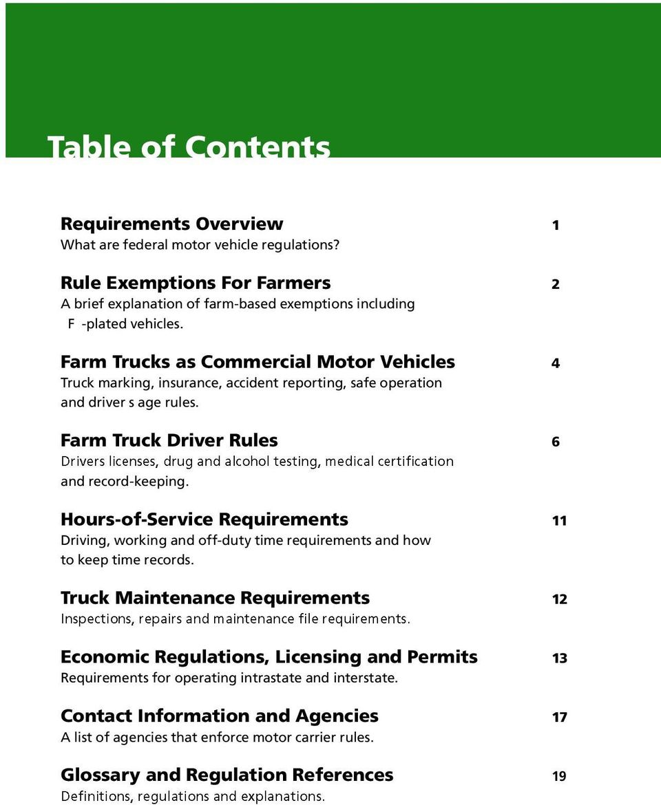 Highway safety for missouri farm trucks missouri for Who is subject to federal motor carrier safety regulations