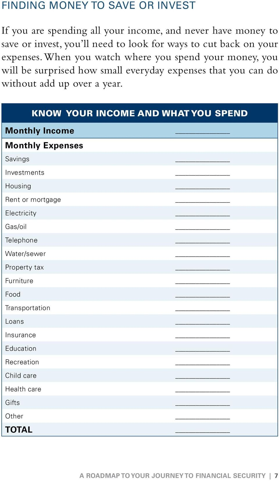 KNOW YOUR INCOME AND WHAT YOU SPEND Monthly Income Monthly Expenses Savings Investments Housing Rent or mortgage Electricity Gas/oil Telephone Water/sewer