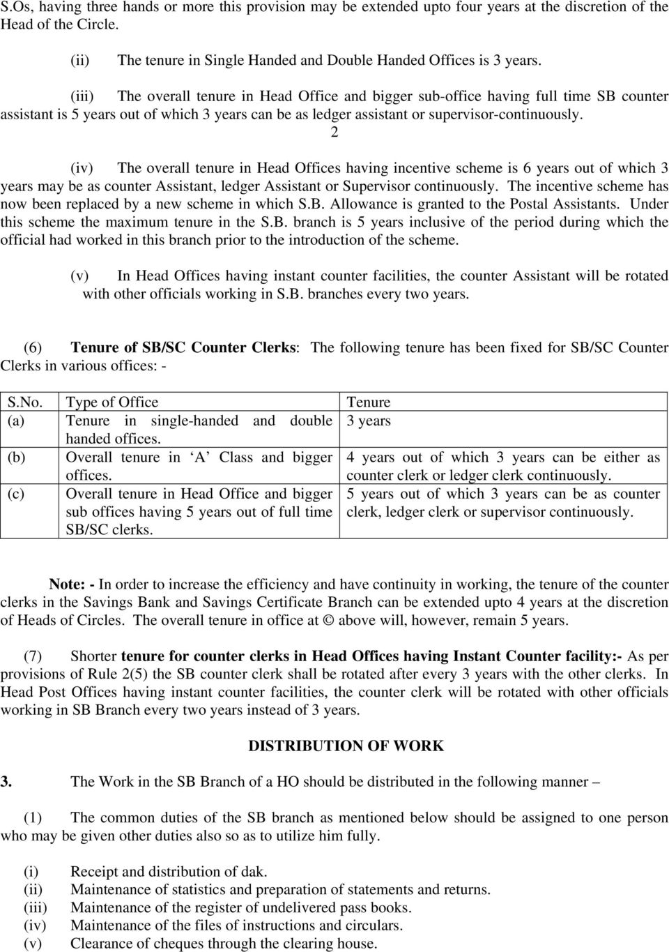 2 (iv) The overall tenure in Head Offices having incentive scheme is 6 years out of which 3 years may be as counter Assistant, ledger Assistant or Supervisor continuously.