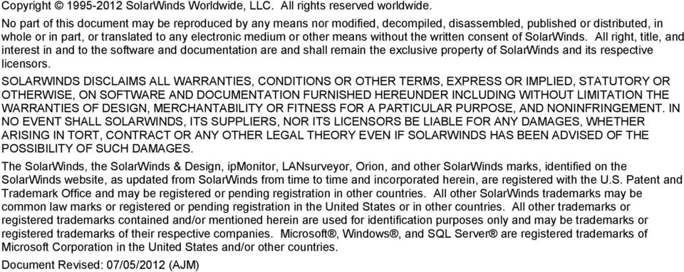 without the written consent of SolarWinds.