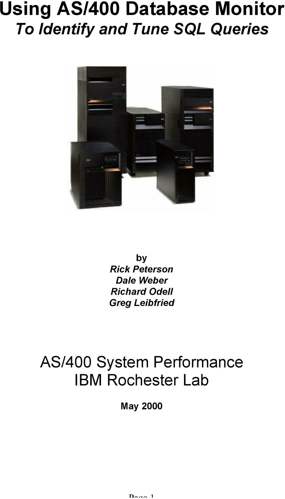 AS/400 System Performance