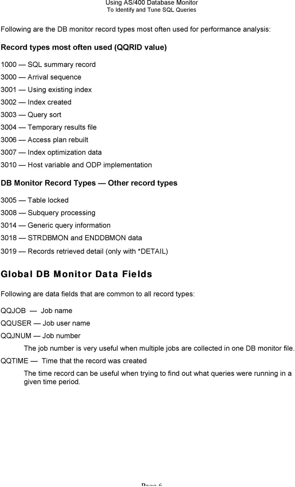 types 3005 Table locked 3008 Subquery processing 3014 Generic query information 3018 STRDBMON and ENDDBMON data 3019 Records retrieved detail (only with *DETAIL) Global DB Monitor Data Fields