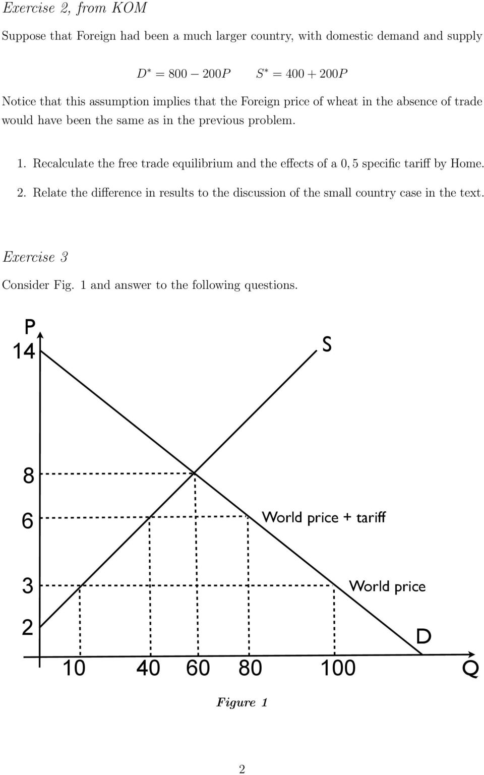 Recalculate the free trade equilibrium and the effects of a 0, 5 specific tariff by Home.