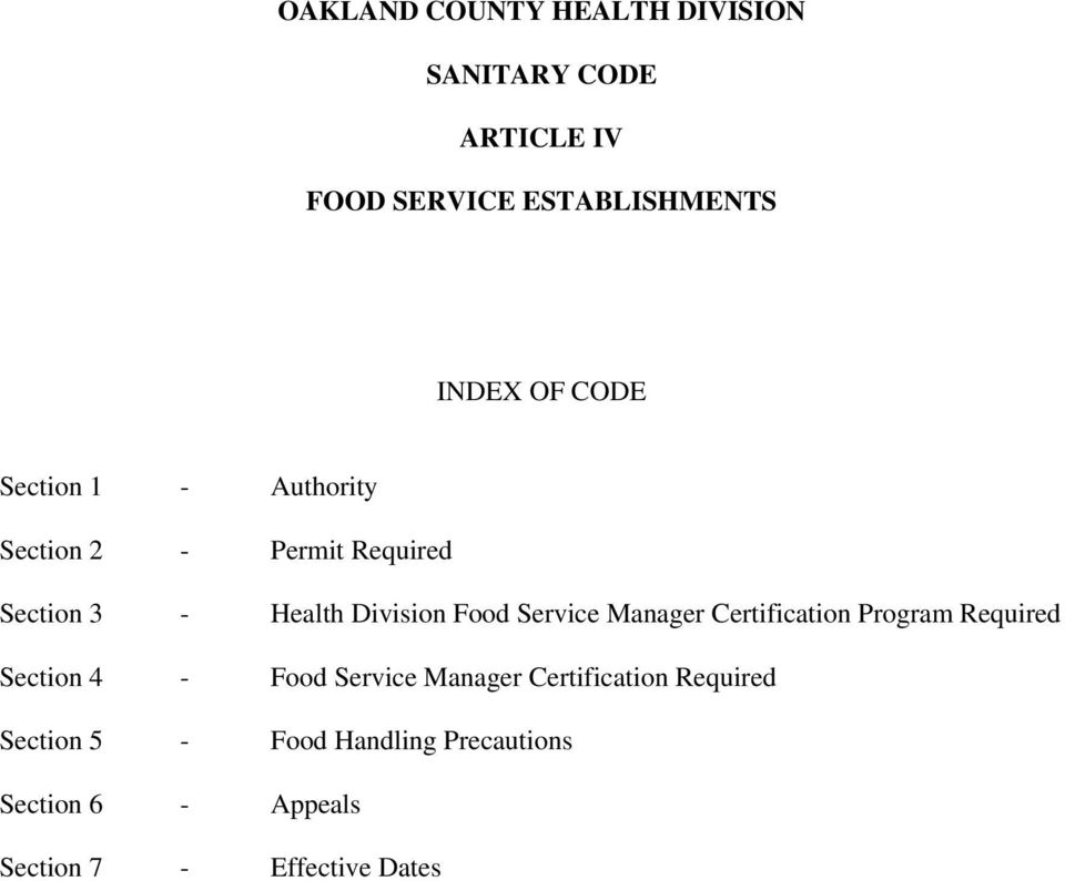 Oakland County Health Division Sanitary Code Article Iv Food Service