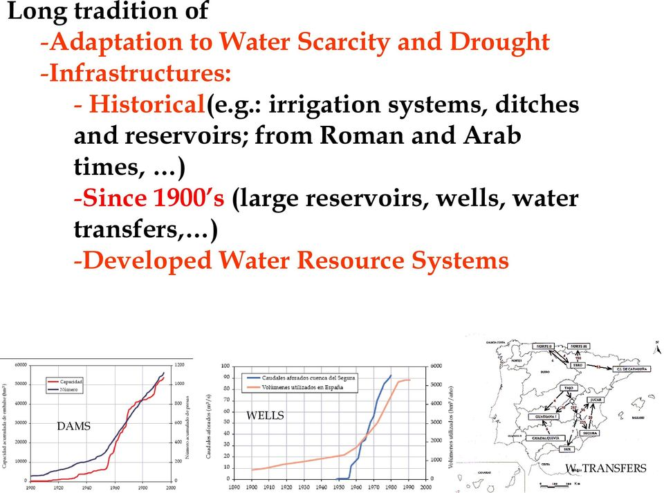 : irrigation systems, ditches and reservoirs; from Roman and Arab