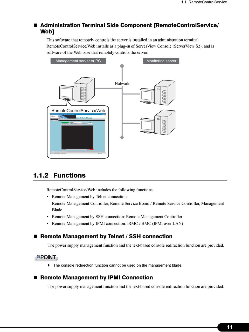 Management server or PC Monitoring server Network RemoteControlService/Web 1.