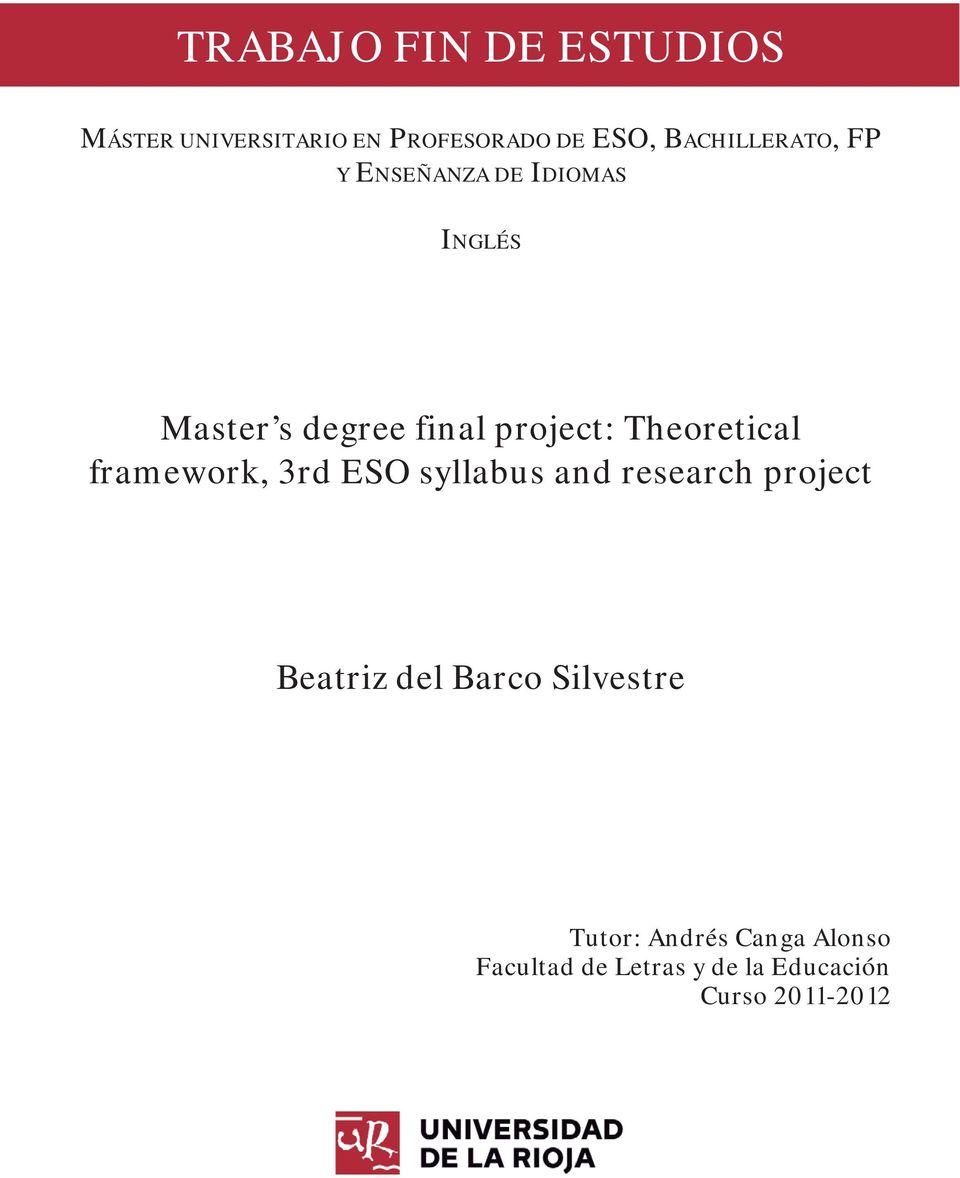 project: Theoretical framework, 3rd ESO syllabus and research project