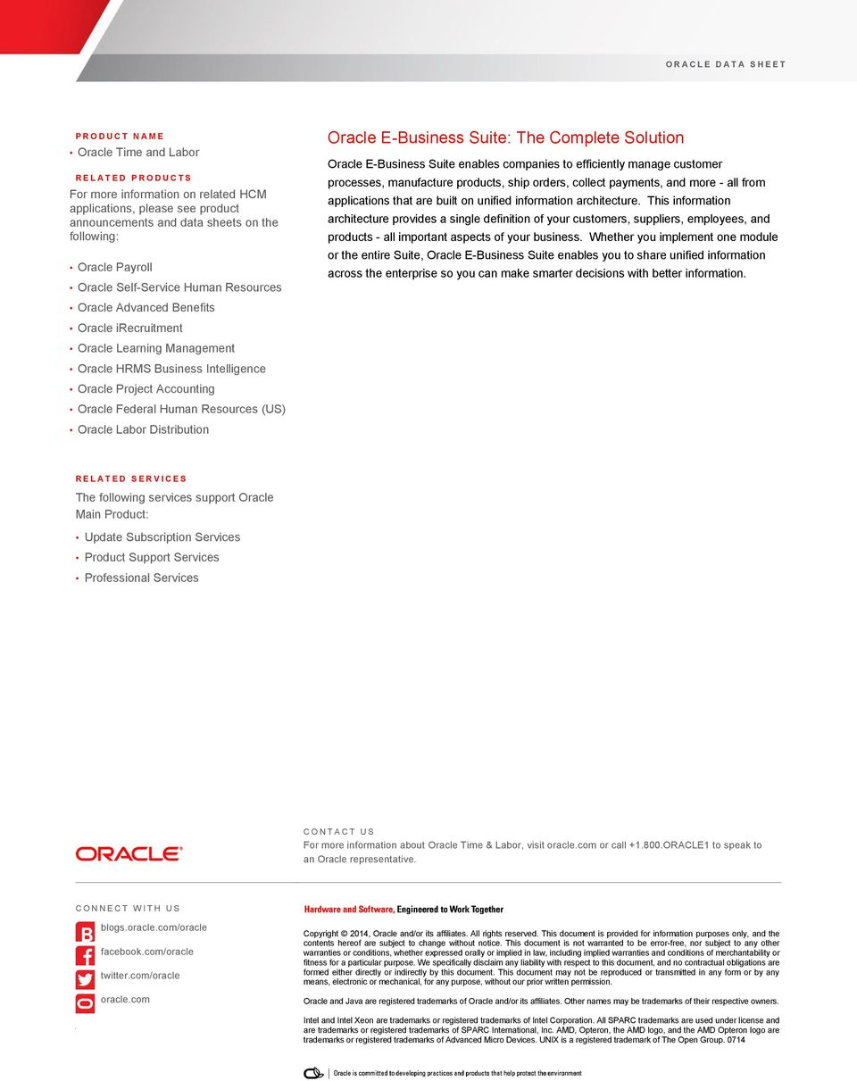 Resources (US) Oracle Labor Distribution Oracle E-Business Suite: The Complete Solution Oracle E-Business Suite enables companies to efficiently manage customer processes, manufacture products, ship