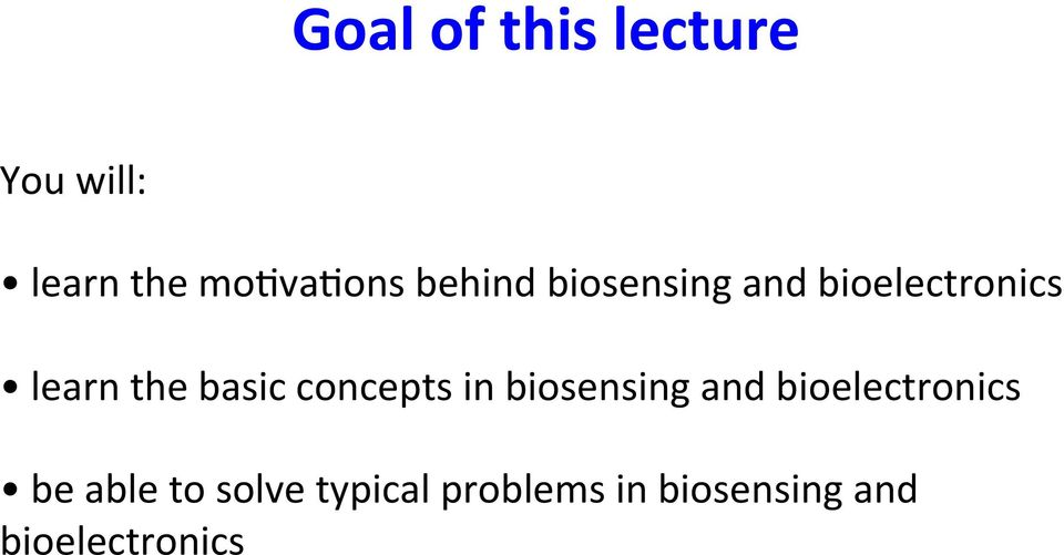 concepts in biosensing and bioelectronics be able to