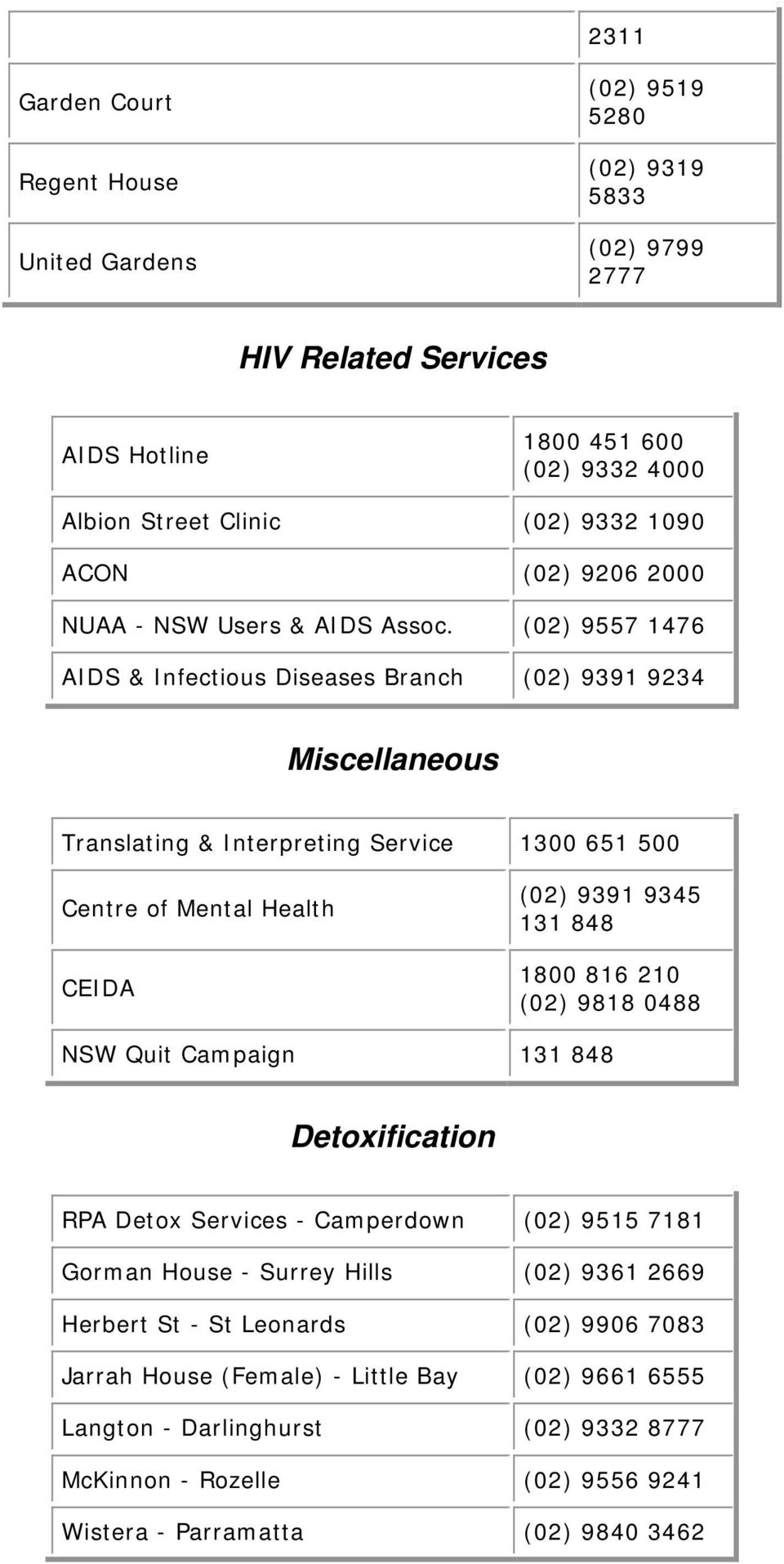 (02) 9557 1476 AIDS & Infectious Diseases Branch (02) 9391 9234 Miscellaneous Translating & Interpreting Service 1300 651 500 Centre of Mental Health CEIDA (02) 9391 9345 131 848 1800 816 210