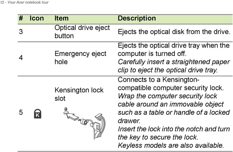 Carefully insert a straightened paper clip to eject the optical drive tray. Connects to a Kensingtoncompatible computer security lock.