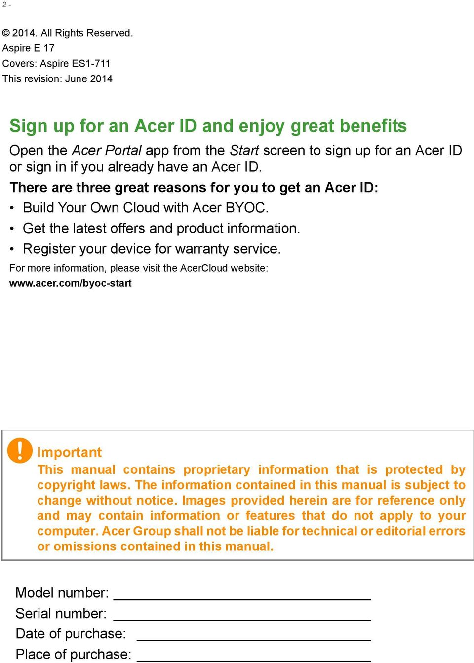 already have an Acer ID. There are three great reasons for you to get an Acer ID: Build Your Own Cloud with Acer BYOC. Get the latest offers and product information.