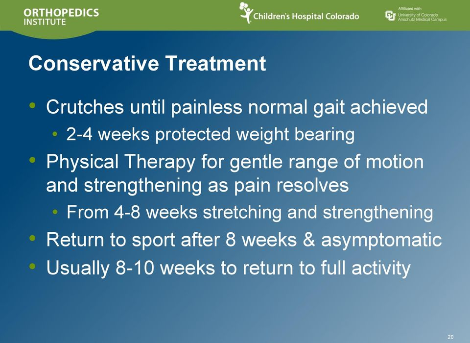 strengthening as pain resolves From 4-8 weeks stretching and strengthening