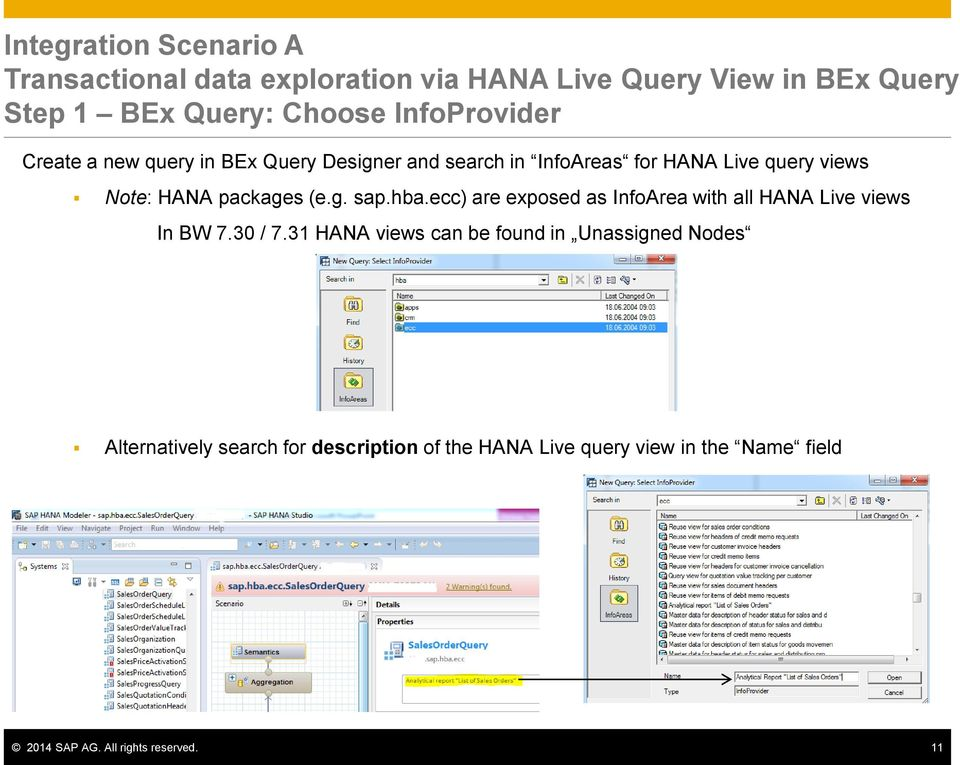 packages (e.g. sap.hba.ecc) are exposed as InfoArea with all HANA Live views In BW 7.30 / 7.