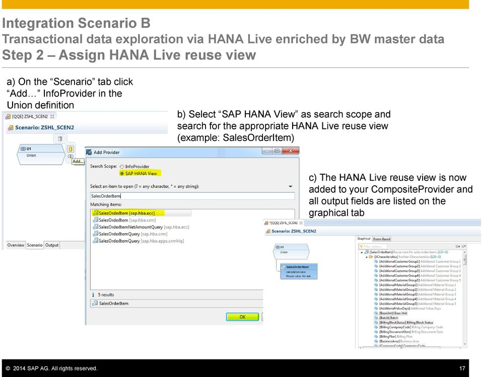 scope and search for the appropriate HANA Live reuse view (example: SalesOrderItem) c) The HANA Live reuse view is now