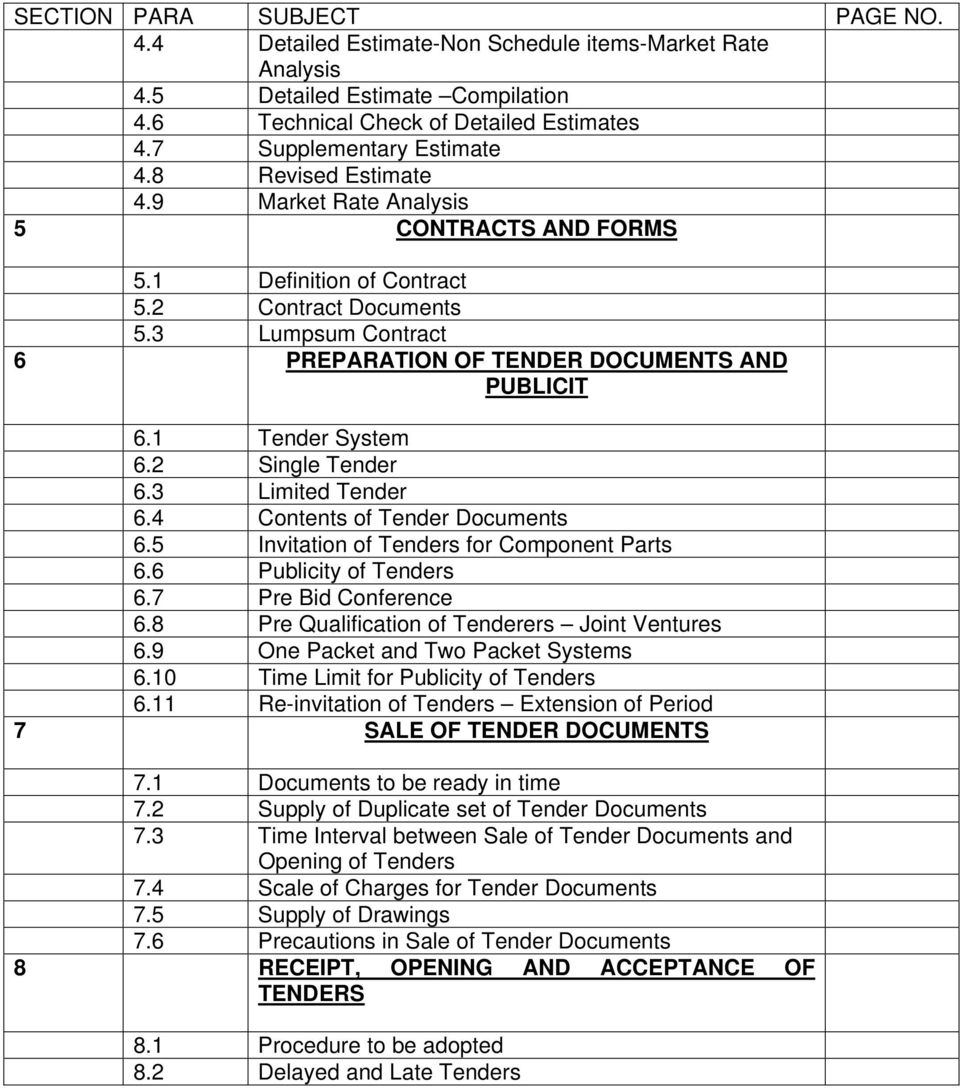 1 Tender System 6.2 Single Tender 6.3 Limited Tender 6.4 Contents of Tender Documents 6.5 Invitation of Tenders for Component Parts 6.6 Publicity of Tenders 6.7 Pre Bid Conference 6.
