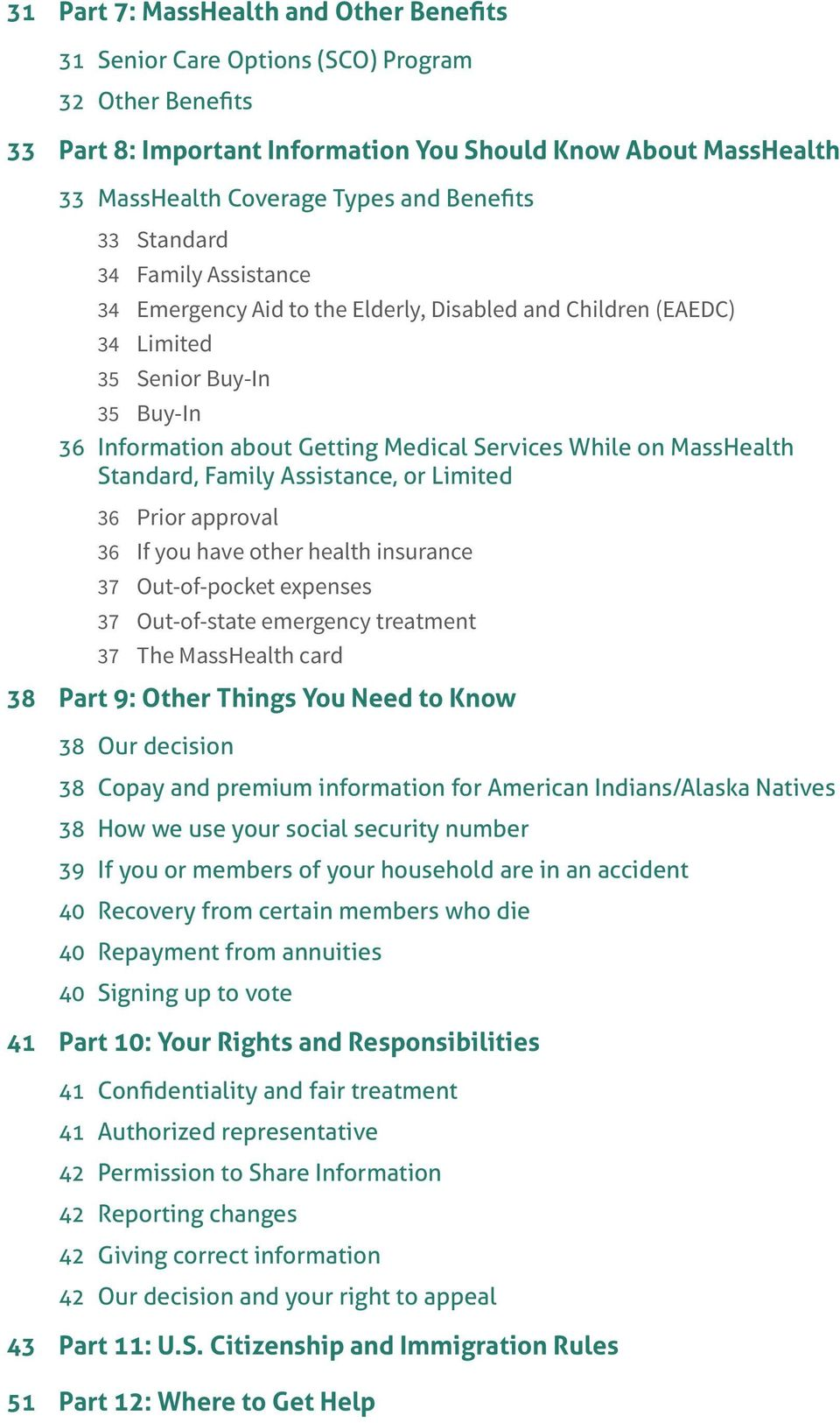 MassHealth Standard, Family Assistance, or Limited 36 Prior approval 36 If you have other health insurance 37 Out-of-pocket expenses 37 Out-of-state emergency treatment 37 The MassHealth card 38 Part