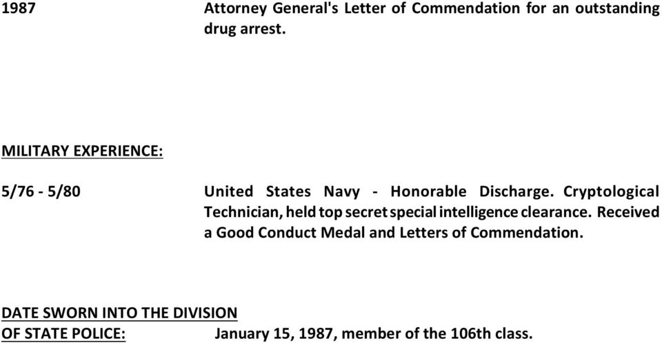 Cryptological Technician, held top secret special intelligence clearance.
