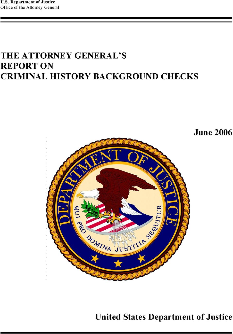 REPORT ON CRIMINAL HISTORY BACKGROUND