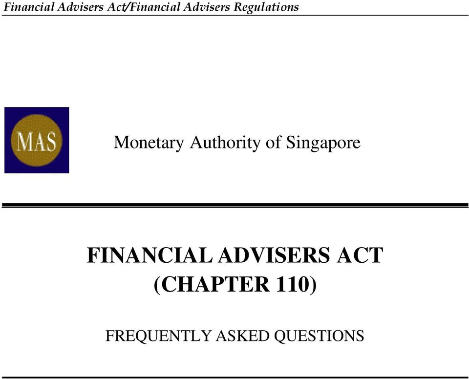 Authority of Singapore FINANCIAL