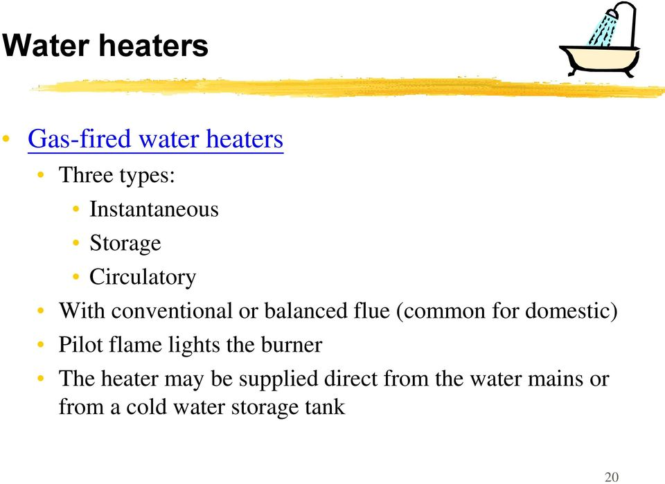 for domestic) Pilot flame lights the burner The heater may be