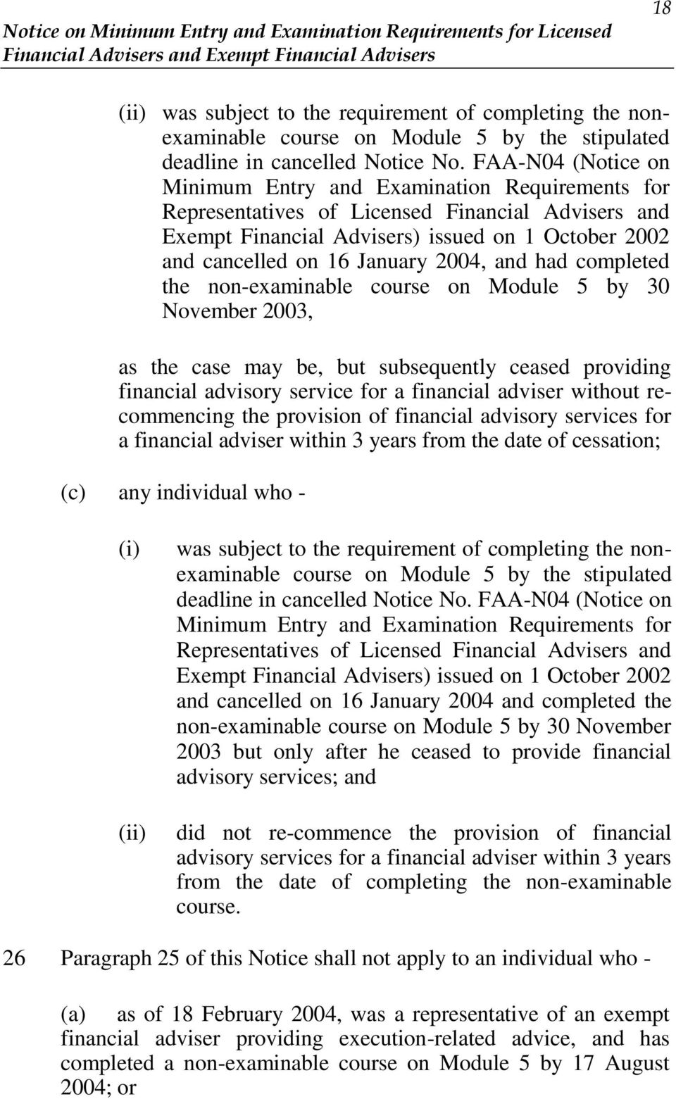 2004, and had completed the non-examinable course on Module 5 by 30 November 2003, as the case may be, but subsequently ceased providing financial advisory service for a financial adviser without