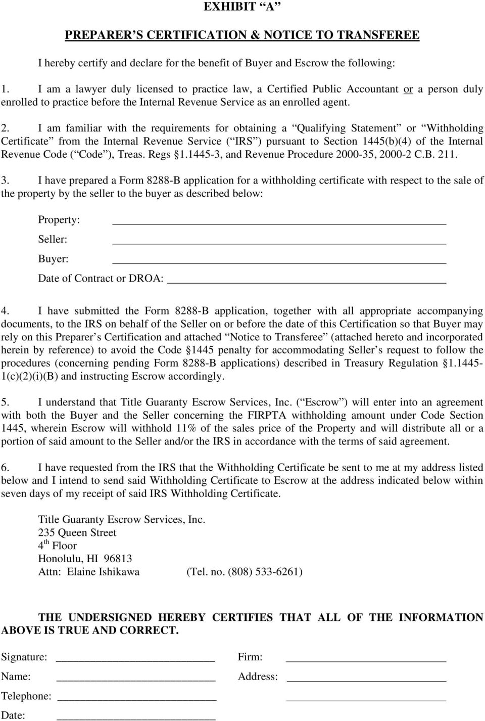Escrow number agreement concerning firpta withholding pdf i am familiar with the requirements for obtaining a qualifying statement or withholding certificate from the falaconquin