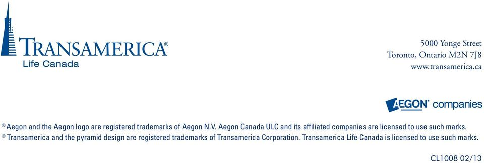 Aegon Canada ULC and its affiliated companies are licensed to use such marks.