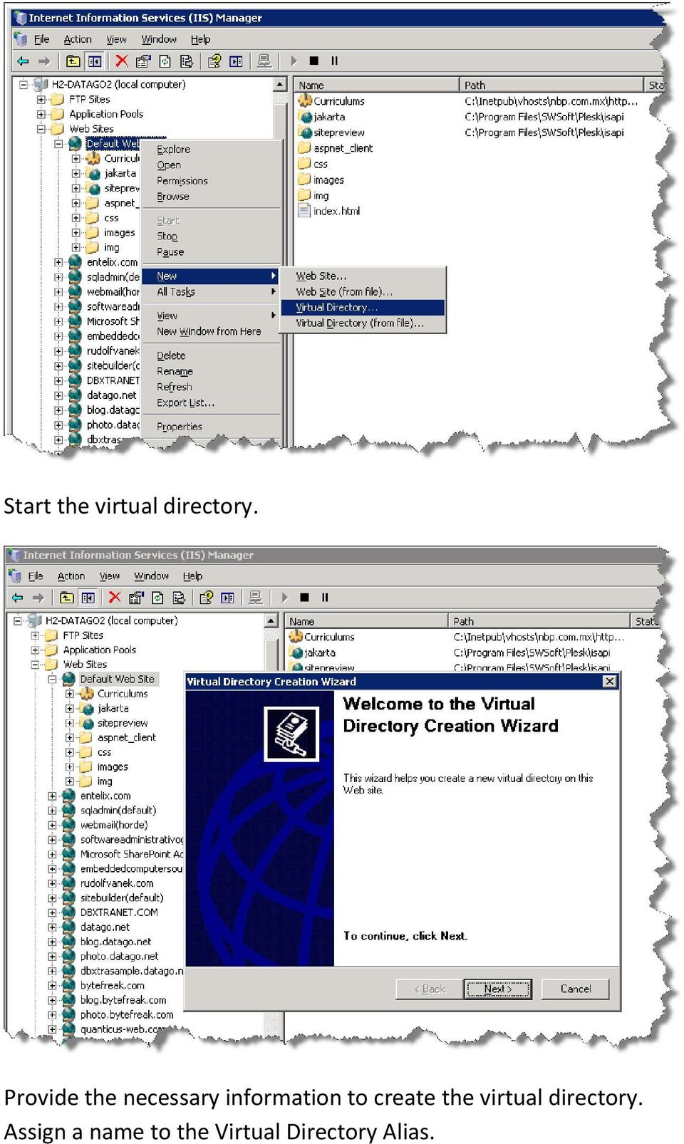 to create the virtual directory.