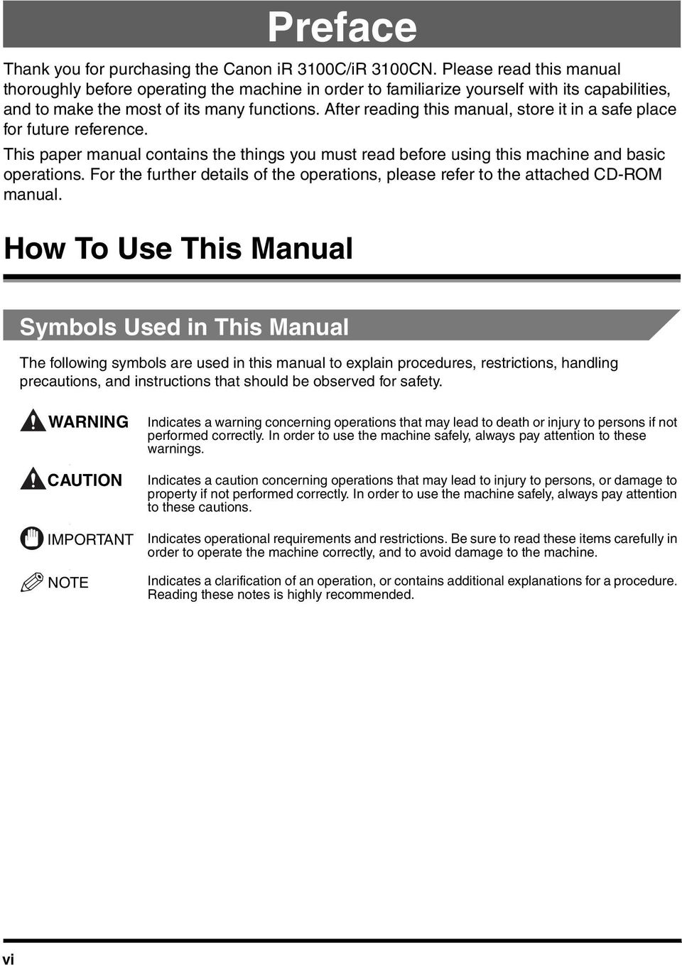 After reading this manual, store it in a safe place for future reference. This paper manual contains the things you must read before using this machine and basic operations.