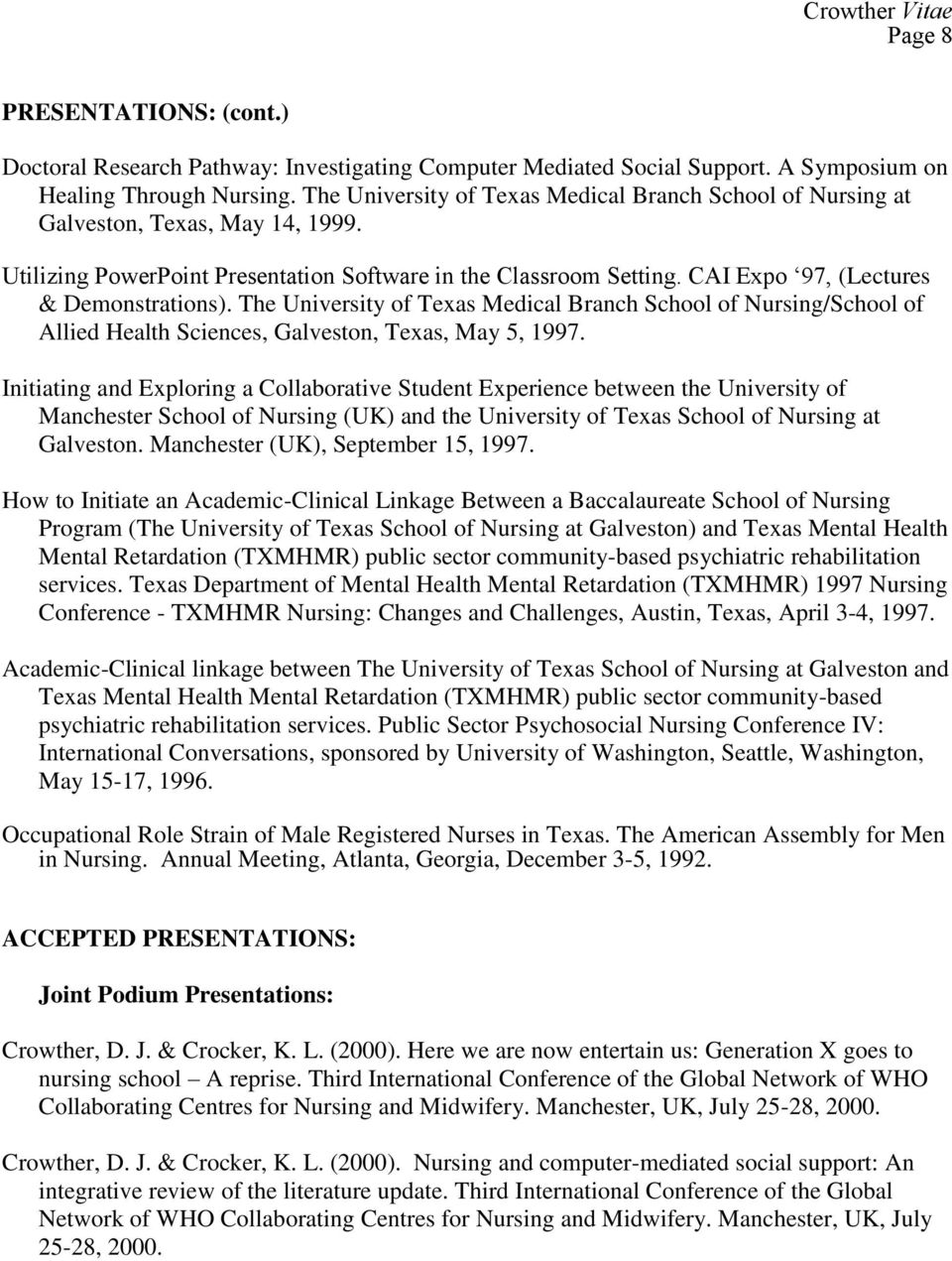 CAI Expo 97, (Lectures & Demonstrations). The University of Texas Medical Branch School of Nursing/School of Allied Health Sciences, Galveston, Texas, May 5, 1997.