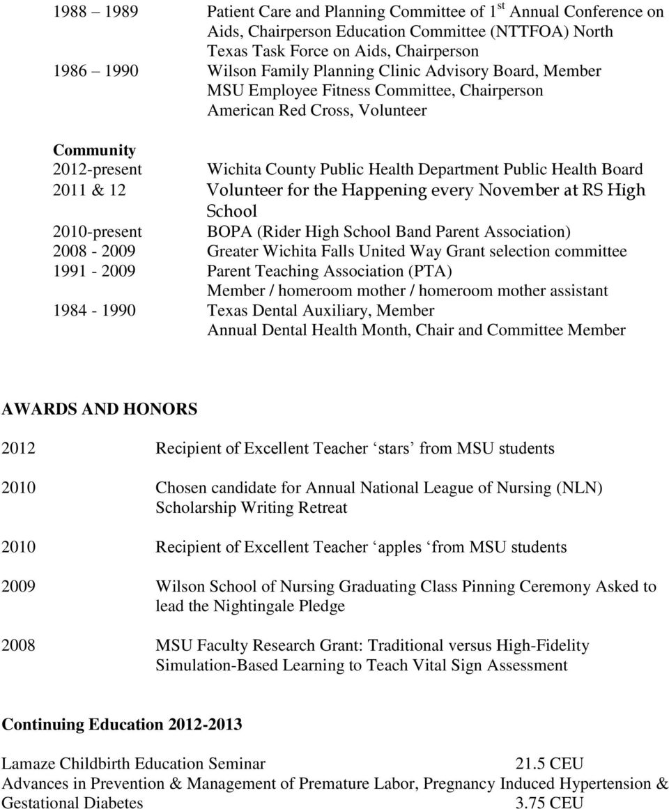 Volunteer for the Happening every November at RS High School 2010-present BOPA (Rider High School Band Parent Association) 2008-2009 Greater Wichita Falls United Way Grant selection committee