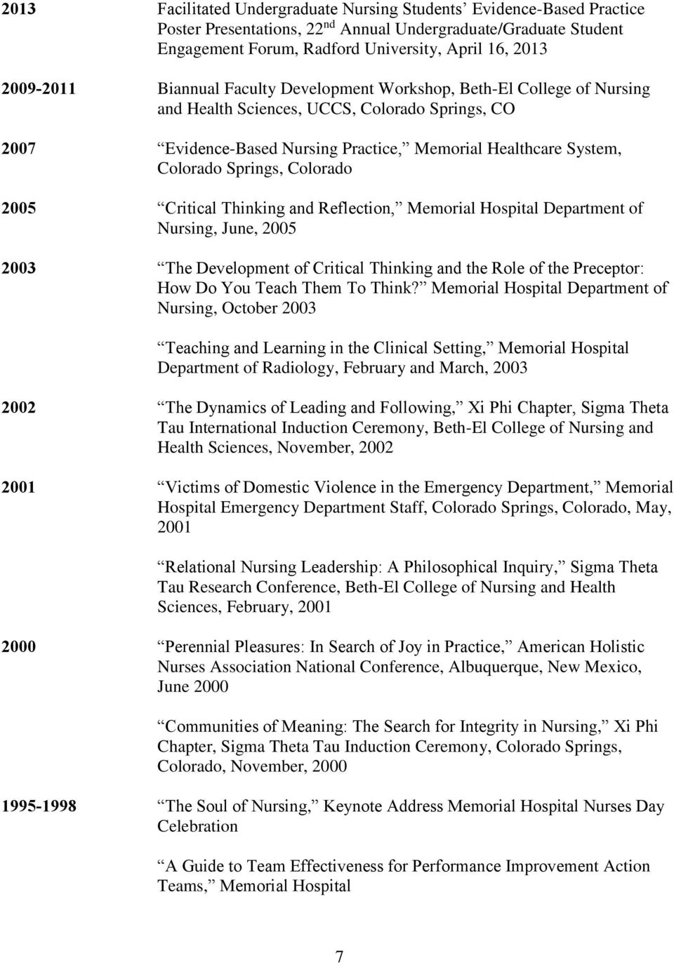 Springs, Colorado 2005 Critical Thinking and Reflection, Memorial Hospital Department of Nursing, June, 2005 2003 The Development of Critical Thinking and the Role of the Preceptor: How Do You Teach