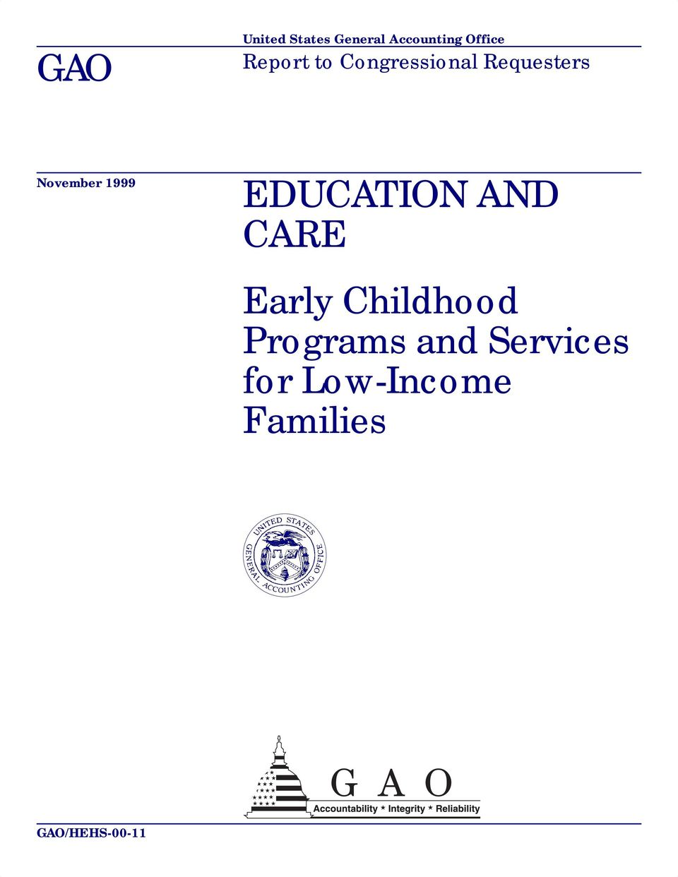 1999 EDUCATION AND CARE Early Childhood