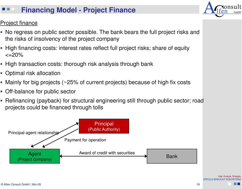 transaction costs: thorough risk analysis through bank Optimal risk allocation Mainly for big projects (~25% of current projects) because of high fix costs Off-balance for public sector
