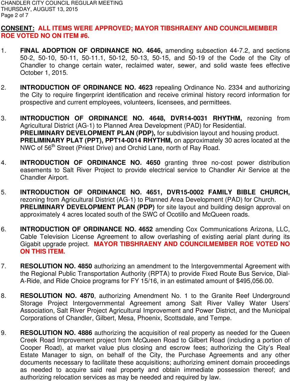1, 50-12, 50-13, 50-15, and 50-19 of the Code of the City of Chandler to change certain water, reclaimed water, sewer, and solid waste fees effective October 1, 2015. 2. INTRODUCTION OF ORDINANCE NO.