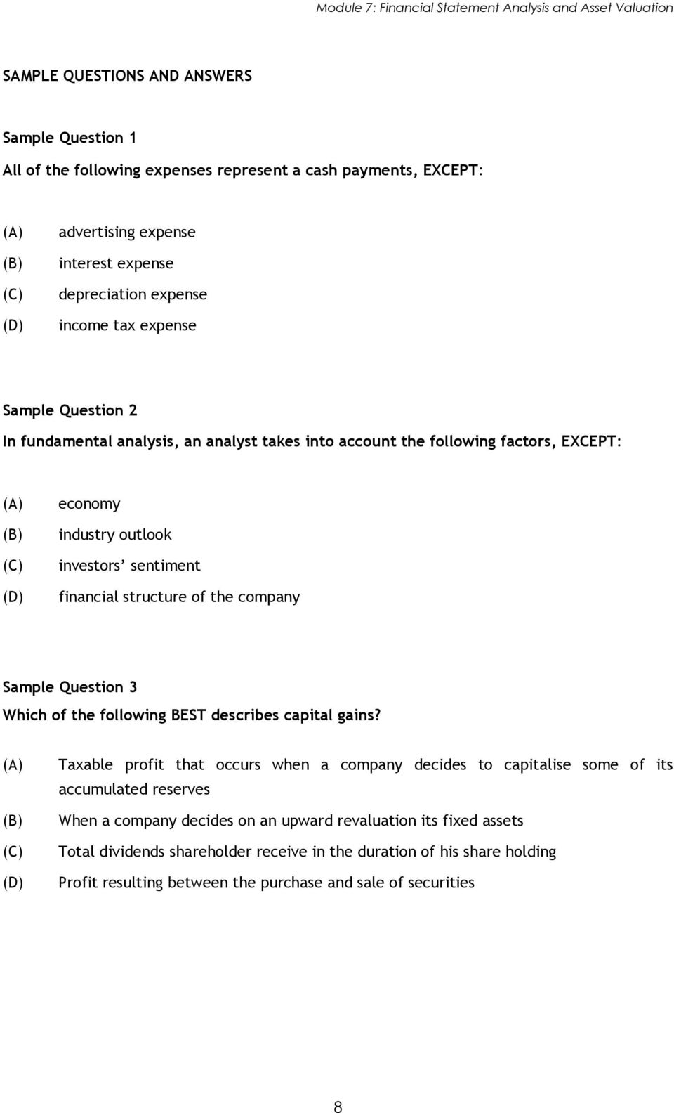 Module 7 Financial Statement Analysis and Asset Valuation PDF – Sample Statement Analysis