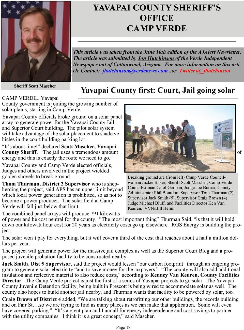 VVN/Bill Helm Scott Mascher CAMP VERDE...Yavapai County government is joining the growing number of solar plants, starting in Camp Verde.