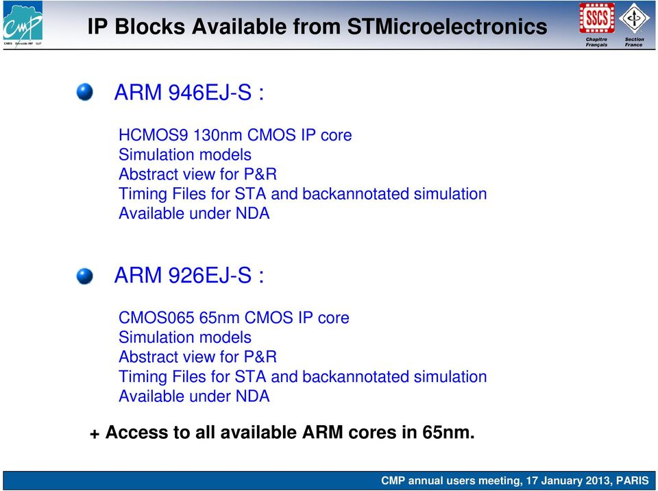 NDA ARM 926EJ-S : CMOS065 65nm CMOS IP core Simulation  NDA + Access to all available ARM cores