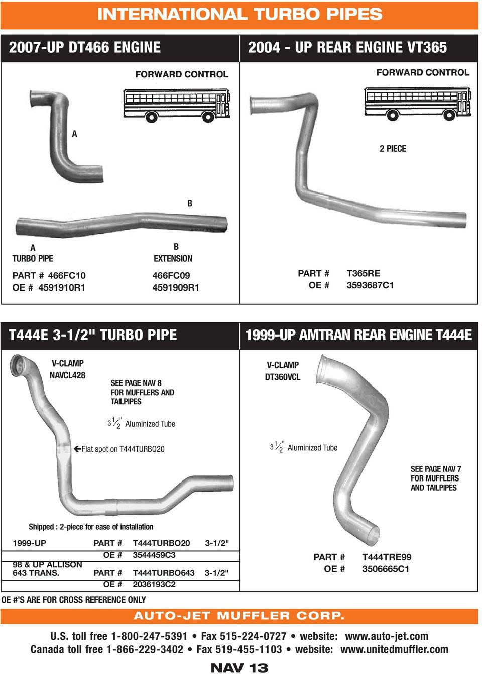 school bus exhaust systems volume 10 pdf v clamp dt360vcl flat spot on t444turbo20 3 1 2 aluminized tube see page