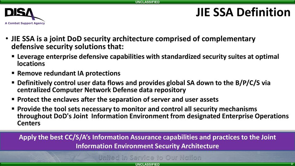 data repository Protect the enclaves after the separation of server and user assets Provide the tool sets necessary to monitor and control all security mechanisms throughout DoD's Joint