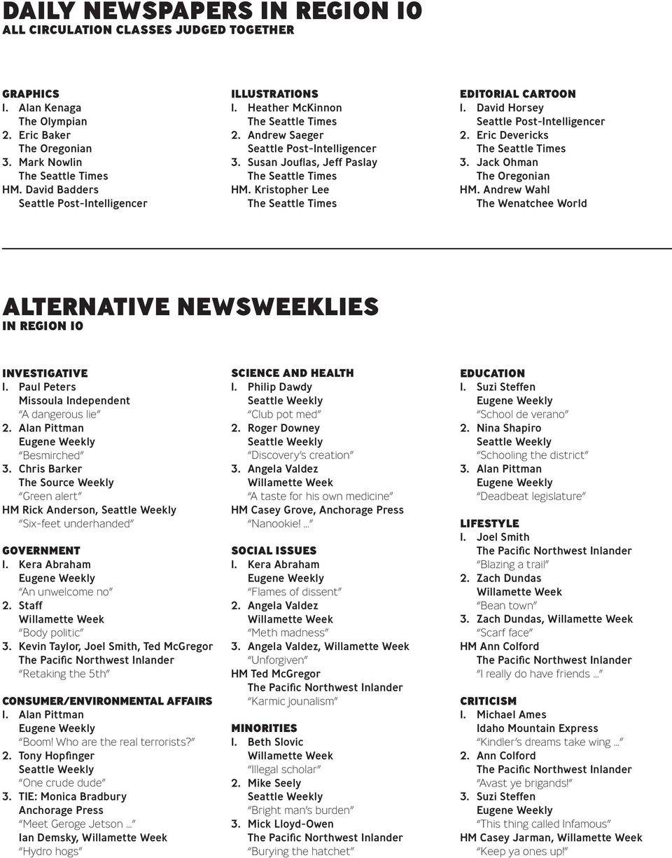 Andrew Wahl The Wenatchee World Alternative newsweeklies in region 10 Investigative 1. Paul Peters Missoula Independent A dangerous lie 2. Alan Pittman Eugene Weekly Besmirched 3.