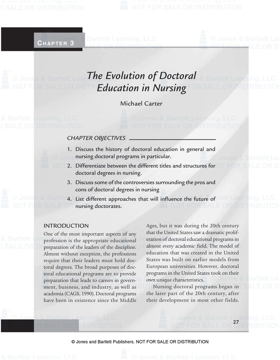FOR Differentiate SALE OR between the different titles and structures for doctoral degrees in nursing. 3.