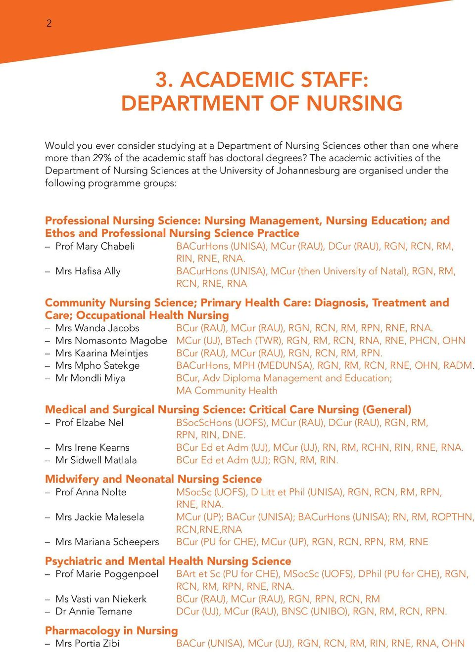 Nursing Education; and Ethos and Professional Nursing Science Practice Prof Mary Chabeli BACurHons (UNISA), MCur (RAU), DCur (RAU), RGN, RCN, RM, RIN, RNE, RNA.